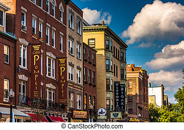 Restaurants and shops on Hanover Street in Boston,...