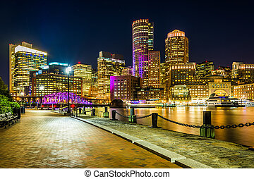 The Boston skyline and Fort Point Channel at night from Fan...
