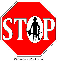 Stop Kids with Firearms - Concept sign for gun free kids or...
