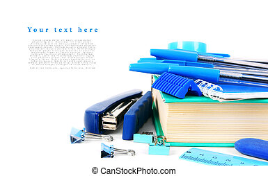 School tools on a white background. With your place for the...