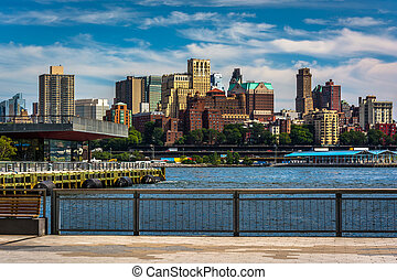 View of Brooklyn from the East River Greenway in Manhattan,...
