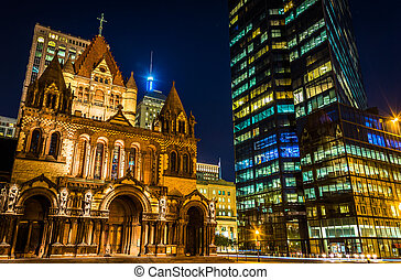 Trinity Church and the John Hancock Building at night, at...
