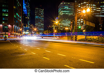 Traffic on Atlantic Avenue at night, near Rowes Wharf in Boston,
