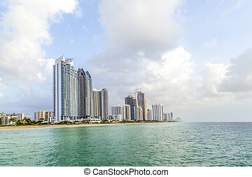 people at fishing Pier in Sunny Isles Beach , Florida -...