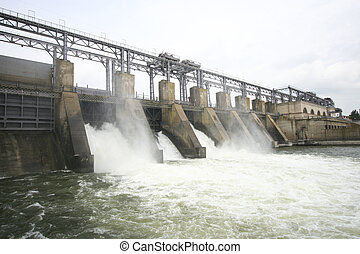 Hydroelectric dam on a river - Horizontal view of the...