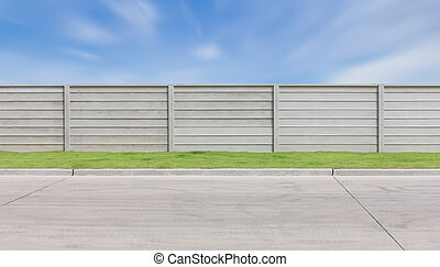 Fence - Prefabricated concrete fence with sky background.