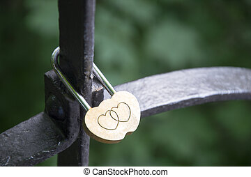 lock of love - Lock of love, hanging on the railing of the...
