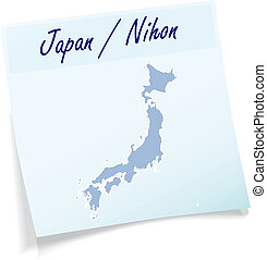 Map of Japan as sticky note in blue