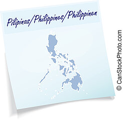 Map of philippines as sticky note in blue