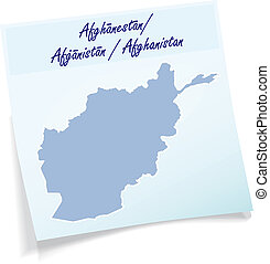 Map of Afghanistan as sticky note in blue