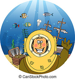 Diver with treasure chest