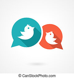twitter birds - Social media bubbles with twitter birds...