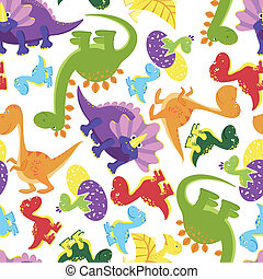 Seamless background pattern of baby dinosaurs - Seamless...
