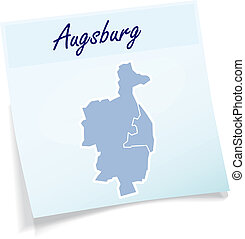Map of Augsburg as sticky note in blue