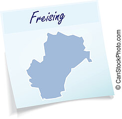 Map of Freising as sticky note in blue