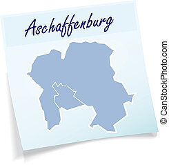 Map of Aschaffenburg as sticky note in blue