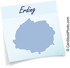 Map of Erding as sticky note in blue