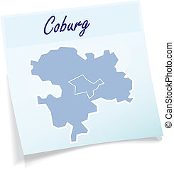 Map of Coburg as sticky note in blue