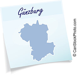 Map of Guenzburg as sticky note in blue