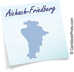 Map of Aichach-Friedberg as sticky note in blue