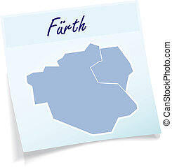 Map of Fuerth as sticky note in blue