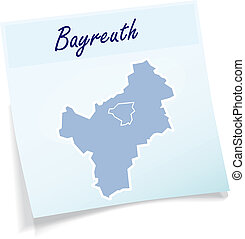 Map of Bayreuth as sticky note in blue