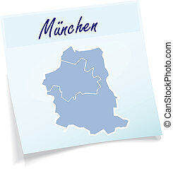 Map of Muenchen as sticky note in blue