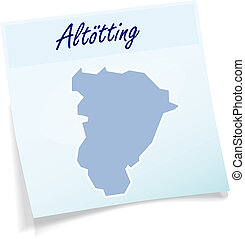 Map of Altoetting as sticky note in blue