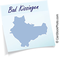 Map of Bad-Kissingen as sticky note in blue