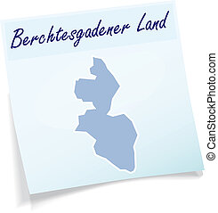 Map of Berchtesgadener Land as sticky note in blue