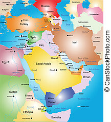 Middle-east vector color map