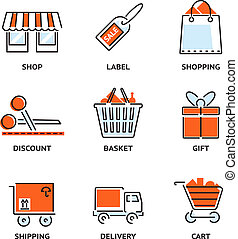 Set of shopping and retail outline vector icons depicting a...