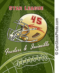 Star League Graphic with Helmet and Football - Star League...