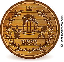 Beer barrel - Beer label on wooden barrel vector...