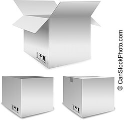 Set of vector packing boxes open and closed