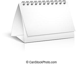 Blank spiral desktop calendar - Vector 3d blank spiral bound...