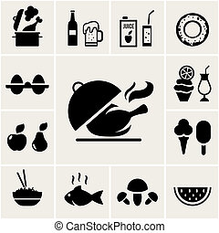 Set of black silhouette food icons depicting cooking beer...