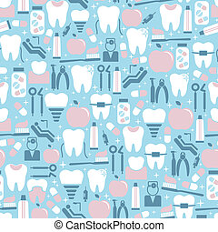 Dental Care Graphics on Blue Background - Pastel Colored...