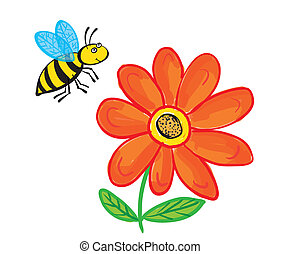 Flying Bee with flower, isolated on white
