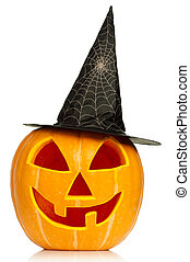 Halloween pumpkin - Funny Halloween pumpkin with black hat...