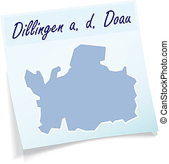 Map of Dillingen as sticky note in blue