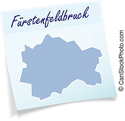 Map of Fuerstenfeldbruck as sticky note in blue