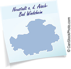 Map of Neustadt-an-der-Aisch-Bad-Windsheim as sticky note in...