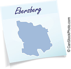 Map of Ebersberg as sticky note in blue