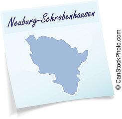Map of Neuburg-Schrobenhausen as sticky note in blue
