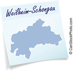 Map of Weilheim Schongau as sticky note in blue