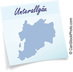 Map of Unterallgaeu as sticky note in blue