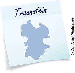 Map of traunstein as sticky note in blue