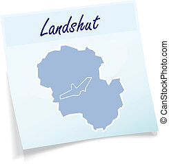 Map of Landshut as sticky note in blue