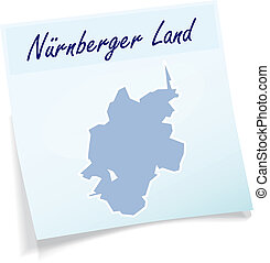 Map of Nuernberger-Land as sticky note in blue